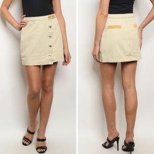🆕 Sand Button Front Denim Mini Skirt